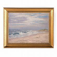 Edward S. Holloway. Crashing Waves, oil on canvas