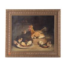 Andrea Cherubini. Hen and Chicks, oil on canvas