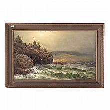 Jonathan B. Morse. Rocky Coast, oil on canvas