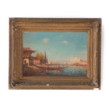 Leopold Ziller. View of Istanbul, oil on canvas
