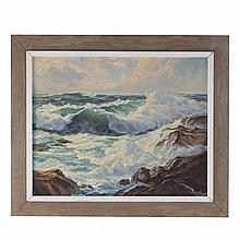William C. Ehrig. Seascape, oil on canvasboard