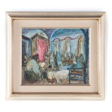 Zvi Raphaeli. Synogogue Interior, oil on canvas