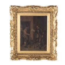 M.D. Hout. A Young Boy Robbing a Gentleman..., oil