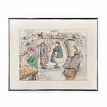 Aaron Sopher. Market Conversation, watercolor