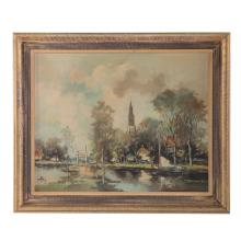 F. Roberts. Dutch Canal with Church, oil
