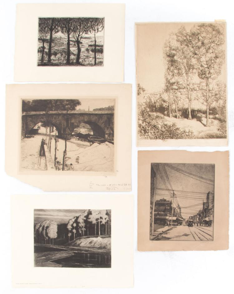 A set of Five unframed 19th c. etchings