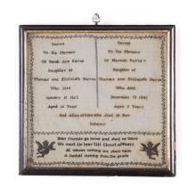 Post Mortem Memorial Sampler, 1865