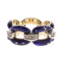 A Lady's Blue Enamel and Diamond Ring