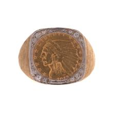 A Gent's 2.5 Dollar Gold Coin & Diamond Ring