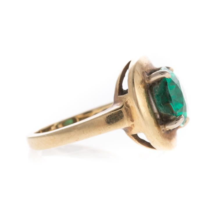 a s 14k synthetic emerald ring