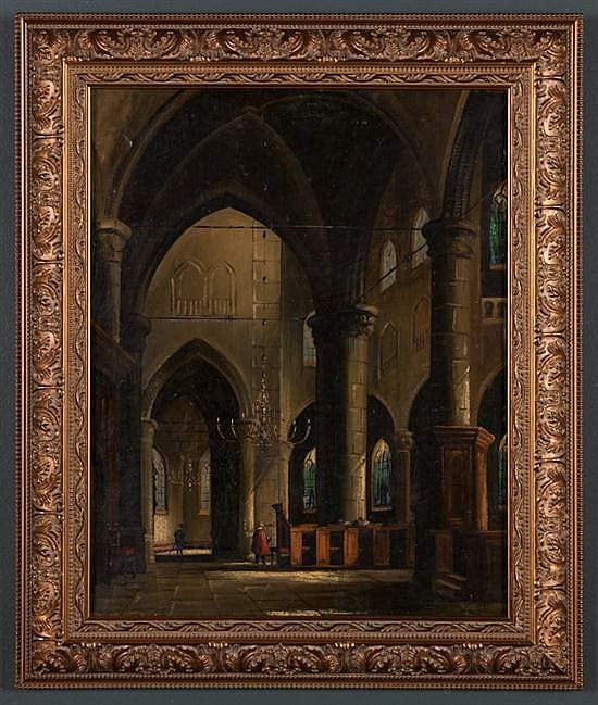 Jacobus Lambertus Dispo, German, 1890-1964, Cathedral Interior, oil on canvas, 19 3/4 x 15 3/4 in., framed