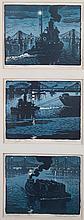 Woldemar Neufeld. Three Tugboat theme woodcuts