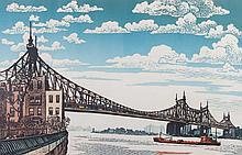 "Woldemar Neufeld ""Under Queensboro Bridge"" woodcut"