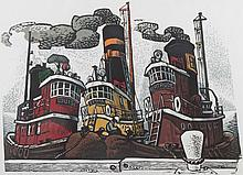 "Woldemar Neufeld. ""Three Tugs,"" color woodcut"