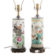 Two Chinese Export Famille Rose wig stand lamps