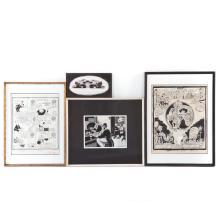 Richard Yardley. Four framed pen and ink cartoons