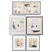 Richard Yardley. Five framed pen and ink cartoons