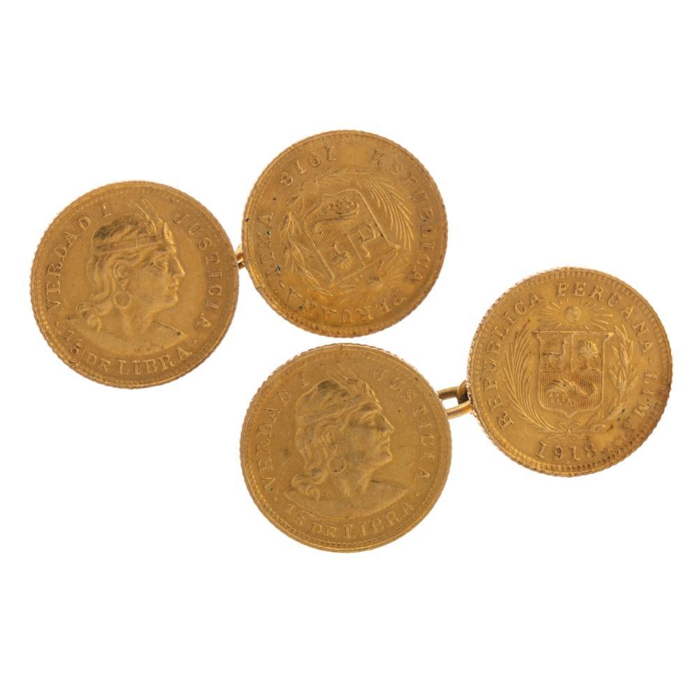 A Pair of 1918 1/5 Libra Peru Coin Cufflinks
