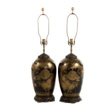 Pair Chinese Export Mirror Black lamps