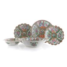 5 Chinese Export Rose Medallion serving pieces