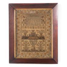 19th century framed English needlework sampler