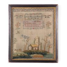 19th c. English needlework and stumpwork sampler
