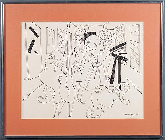 Aaron Sopher, American, 1905-1972, Modern Art Gallery, pen and ink on paper, 15 x 19 1/4 in., framed
