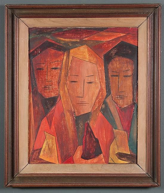 Merton Daniel Simpson, American, 1928-1999, Three Heads, oil on masonite, 20 x 16 in., framed