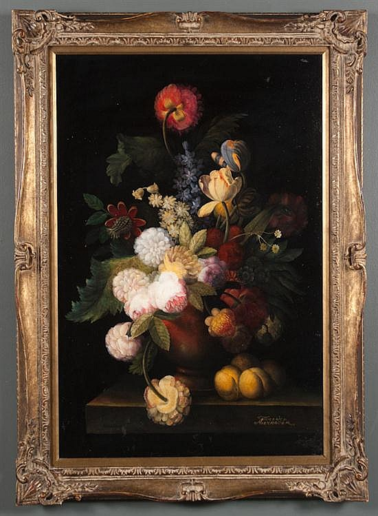 Terrence Alexander, 20th century, Still Life with Flowers, oil on canvas, 36 x 24 in., framed