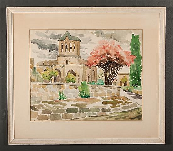 Alice Stanley Acheson, American, b. 1895, Village Church, watercolor on paper, 15 1/2 x 19 in., framed