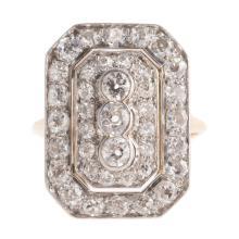 A Lady's Art Deco 14K/Platinum Diamond