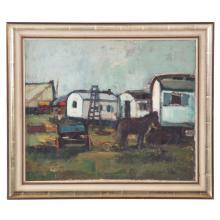 Karl Stachelscheid. Wagons, oil on board