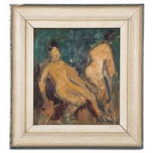 Karl Stachelscheid. Abstract Nudes, oil on board