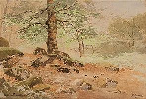 """Joseph Clement Maxime Jeannot, French, b. 1855, """"Foret de Fontainebleau"""", watercolor on paper, 13 x 19 1/4 in., framed"""