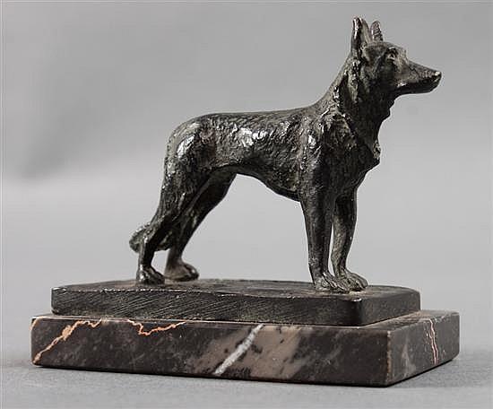 Paul Edouard Dreux (French, 1855-1947). German Shepherd, bronze