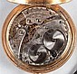 Benedict Brothers, New York, 14K gold open-face pocket watch, suspended from a 14K gold and ribbon mourning fob