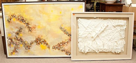 John St. John. Abstract Composition, oil on canvas, signed lr, framed, and a framed papier-mache relief