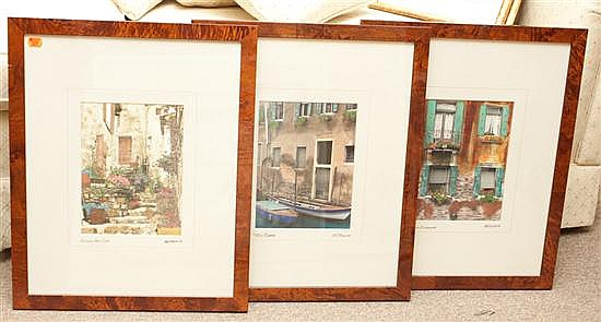 Martin Roberts. Three framed hand-tinted photographs of Venice