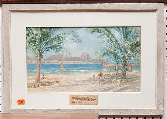 Otto Bungner. View of Rio Praia Copa Cabana, watercolor on paper, signed lr, framed