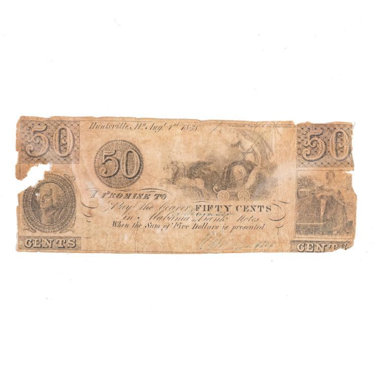Us rj manning 1838 50 cent merchant script for Alex cooper real estate auctions