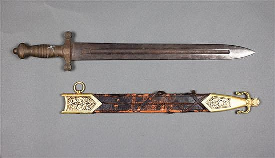 German brass hilted artillery officers sword, Roman style; F. Horsler, Solingen, mid 19th century