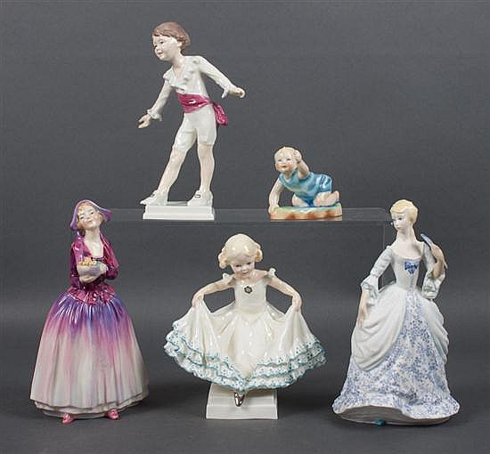 Four Royal Worcester china figures, and a similar Royal Doulton china figure