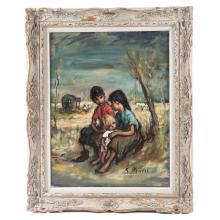 Georgette Nivert. Children Resting Near Tree, Oil