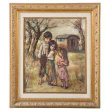 Georgette Nivert. Children with Wagon, Oil