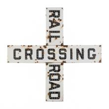 Railroad Crossing Sign, Enamel With Jewels