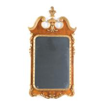 George II style gilt & burl walnut mirror
