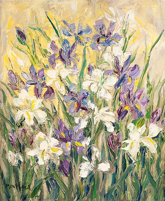 Edith Montlack (American, 1914-2003) Flowers in Field oil on canvas