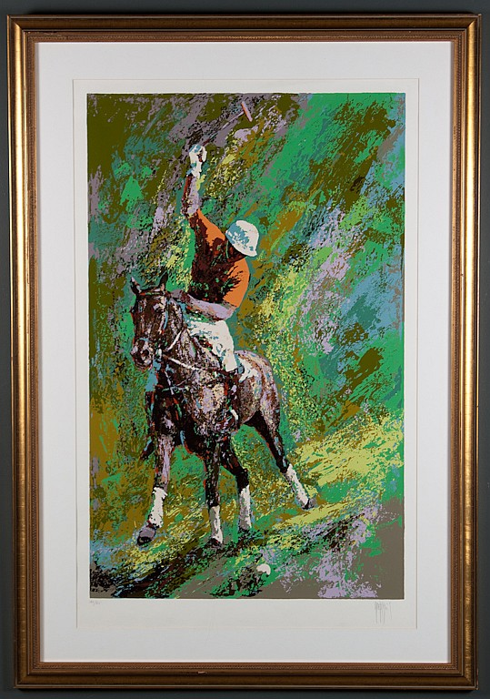Mark King, American, b. 1931, Polo Player, color screenprint, ed.140/325, 38 1/2 x 24 in., framed