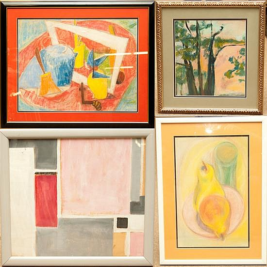 Anne G. Helioff (American, 1910-2001). Four assorted abstract works of art, framed