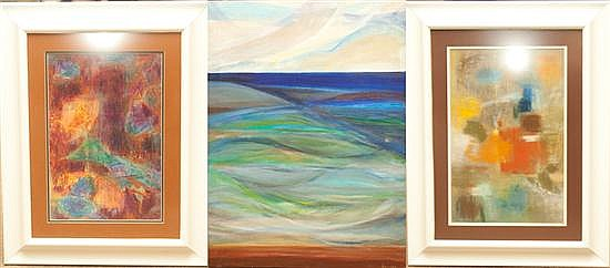 Anne G. Helioff (American, 1910-2001). Three assorted abstract works of art, two framed